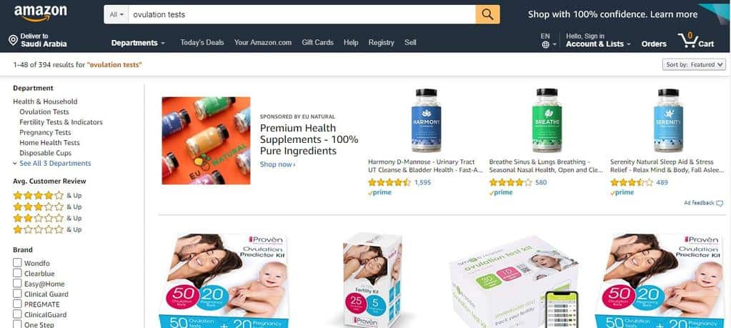 Amazon.com is an ecommerce website that also sells at-home fertility tests